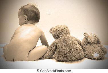 animal, poser, bourré, innocence, bébé, enfance