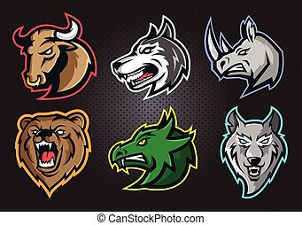 Animal professional logo set for a sport team
