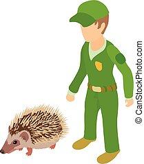 Animal protection icon, isometric style