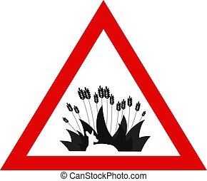 Animal Protection. Warning Sign with Deer Hidden in the...