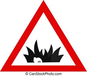 Animal Protection. Warning Sign with Nesting Bird. Simple...