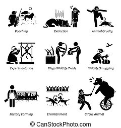 Animal Rights and Issues Stick Figure Pictogram Icons.