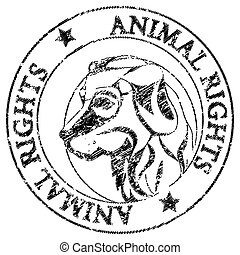 animal rights - Animal rights stamp with the illustration of...