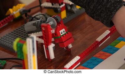 Animal robot in action. Robotics study at school