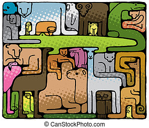 animal, rompecabezas, (vector)