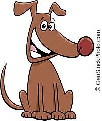 animal, séance, caractère, chien, dessin animé, chouchou