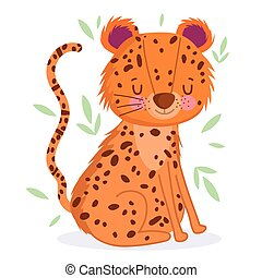 animal safari cartoon with leaves white background