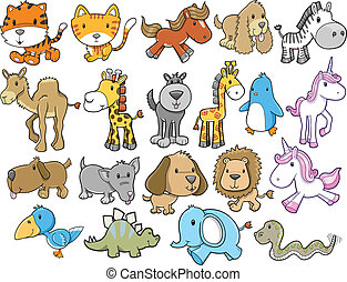 Animal Safari Wildlife Vector set - Cute Animal Safari...
