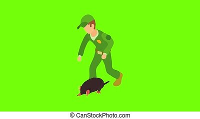 Animal salvation icon animation cartoon best object on green screen background