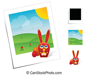 Animal Scenes / Easter Bunny - Eastern photo scene with...