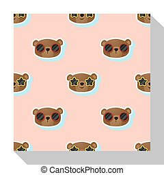 Animal seamless pattern collection with bear 1