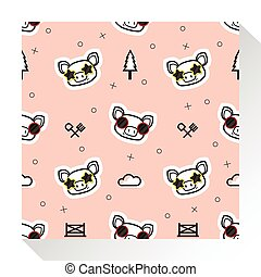 Animal seamless pattern collection with piggy 1
