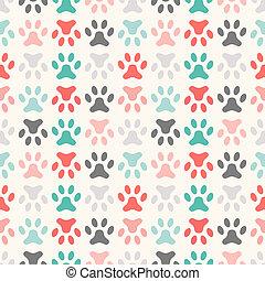 Animal seamless vector pattern of paw footprint
