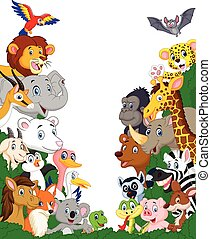 animal selvagem, caricatura, fundo