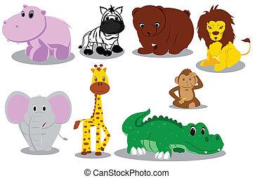 animal selvagem, desenhos animados