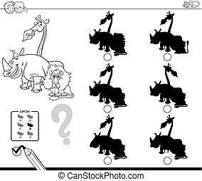 Black and White Cartoon Illustration of Finding the Shadow without Differences Educational Activity for Children with Funny Wild Animal Characters Coloring Book