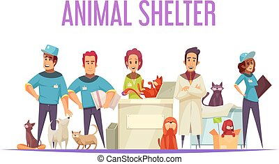 Animal shelter design concept with volunteers veterinarians domestic and homeless pets flat vector illustration