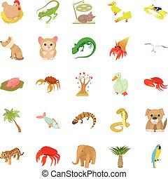 Animal shelter icons set, cartoon style