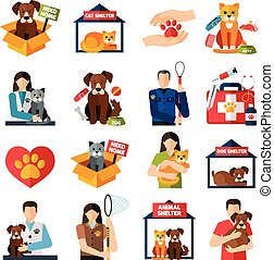 Animal shelter icons set with volunteers with cats and dogs...