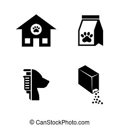 Animal Shelter. Simple Related Vector Icons