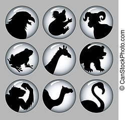 Animal silhouettes 2 black & white
