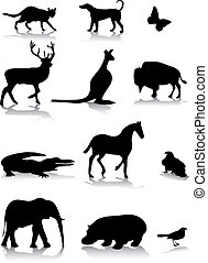 Animal silhouettes - set of different animal silhouettes
