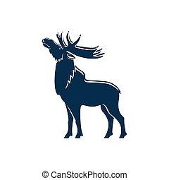 animal, silueta, comprimento, isolado, selvagem, alces, ...