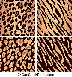 animal skin seamless pattern set. Set leopard print pattern. Set tiger print pattern. Set a jaguar print pattern. Set texture yellow-orange, bronze color.