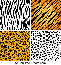 Animal skins - Set of 4 animal skins, seamless patterns