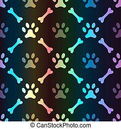 Animal spectrum seamless vector pattern of paw footprint