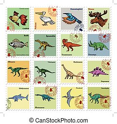 animal stamps with animals