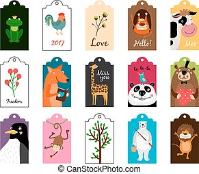Animal tags vector illustration. Frames or label with animals for school isolated on white background