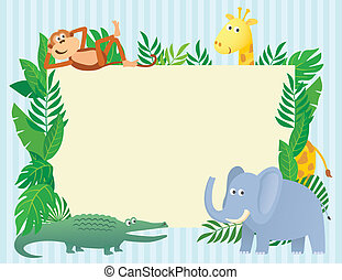 Animal themed illustration with blank sign board for text