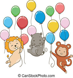 Animal Themed Party Balloons - Illustration of Cute Jungle...