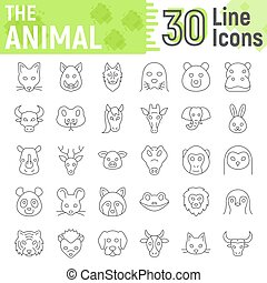 Animal thin line icon set, beast symbols collection, vector sketches, logo illustrations, farm signs linear pictograms package isolated on white background, eps 10.