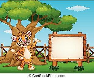 animal, tigre, al lado de, el, vacío, tabla signo, dentro, el, cerca