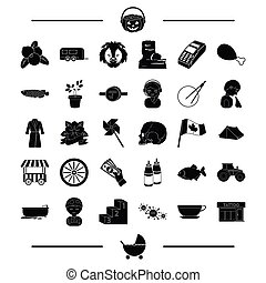 animal, tool, equipment and other web icon in black style. food, transport icons in set collection.