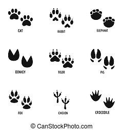 Animal tracking icons set, simple style