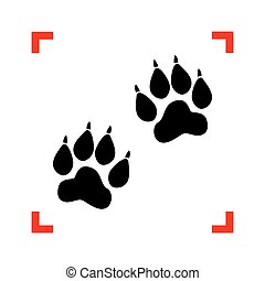 Animal Tracks sign. Black icon in focus corners on white backgro