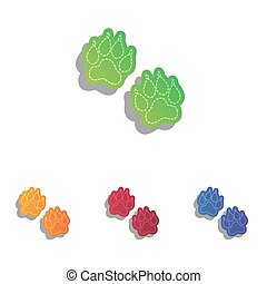 Animal Tracks sign. Colorfull applique icons set.
