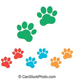 Animal Tracks sign. Colorfull set isolated on white ...