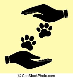 Save or protect symbol by hands. - Animal Tracks sign. Save...