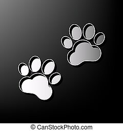 Animal Tracks sign. Vector. Gray 3d printed icon on black background.