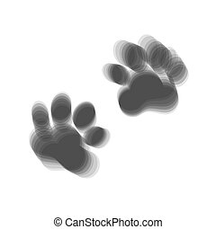 Animal Tracks sign. Vector. Gray icon shaked at white background.