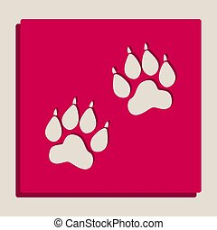 Animal Tracks sign. Vector. Grayscale version of Popart-style icon.