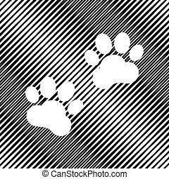 Animal Tracks sign. Vector. Icon. Hole in moire background.