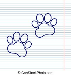Animal Tracks sign. Vector. Navy line icon on notebook paper as background with red line for field.