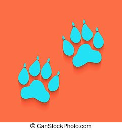 Animal Tracks sign. Vector. Whitish icon on brick wall as background.