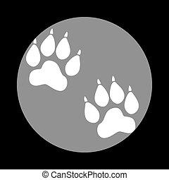 Animal Tracks sign. White icon in gray circle at black backgroun