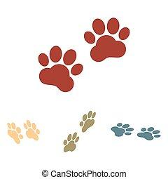 Animal Tracks. Vector illustration  set. Isometric effect